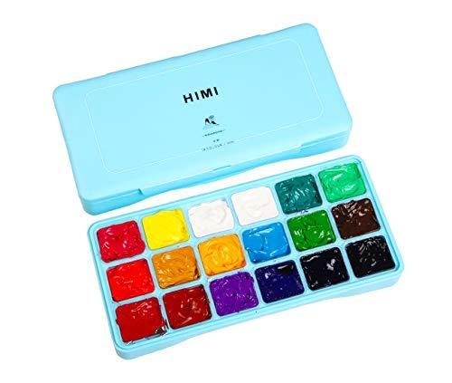 INK LAB HIMI Gouachefarben Set 18 Farben Gouache Aquarellfarben Set Gouache Farben Einzigartiges Gelee Design mit Tragbar Palette für Künstler, Kinder, Anfänger