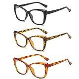 KoKoBin 3 confezioni di occhiali da lettura con Occhio di Gatto, eleganti occhiali dalla montatura grande, comodi occhiali blu a prova di luce +1.5