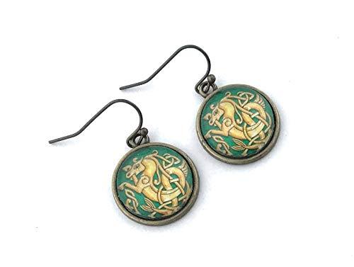 Celtic Knot Seahorse Earrings - Antique Brass - Handmade