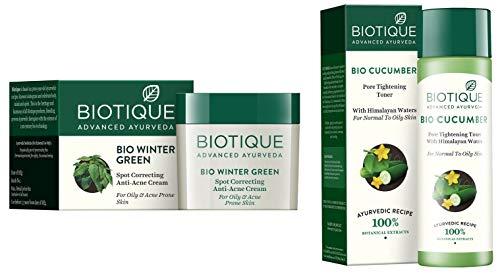 Biotique Bio Winter Green Spot Correcting Anti Acne Cream, 15g And Biotique Bio Cucumber Pore Tightening Toner, 120ml