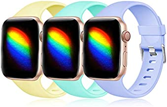 Haveda Sport Compatible for Apple Watch SE Band, iwatch 44mm Series 6 5 4, Waterproof iWatch Bands 42mm Women Wristband for Apple Watch Series 3 42mm Men, 3Pack Lilac/Green/Yellow 42mm/44mm M/L