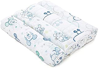 Aden by Aden + Anais Disney Swaddle Blanket | Muslin Blankets for Girls & Boys | Baby Receiving Swaddles | Ideal Newborn Gifts, Unisex Infant Shower Items, Wearable Swaddling Set, Mickey Mouse