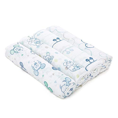 Aden + Anais Essentials Disney Swaddle Blanket, Muslin Blankets for Girls & Boys, Baby Receiving Swaddles, Ideal Newborn Gifts, Unisex Infant Shower Items, 4 Pack, Mickey Mouse