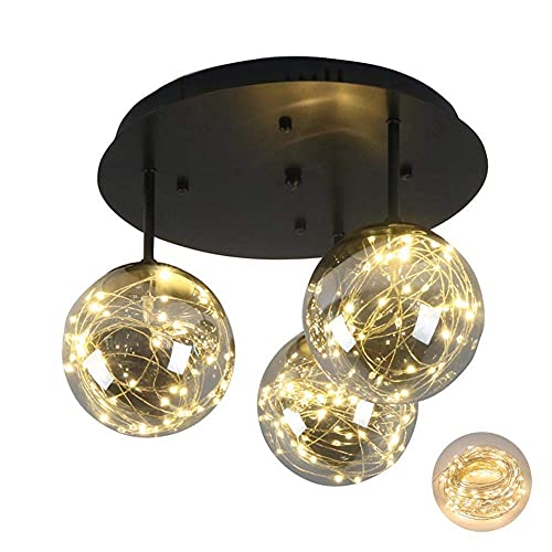 LLLKKK Lámpara de techo de 3 cabezales, lámpara semiempotrada, lámpara colgante de metal para salón, dormitorio, restaurante, suspensión para colgar en casa, 3 cabezales
