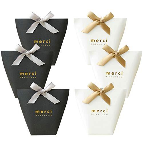 Yuecute - Cajas para caramelos cortadas a láser con cintas, para despedidas de soltera, bodas, fiestas, decoración de fiestas y Pascua, paquete con 20 unidades Small Negro y blanco.