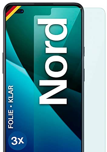 moex Klare Schutzfolie kompatibel mit OnePlus Nord - Bildschirmfolie kristallklar, HD Bildschirmschutz, dünne Kratzfeste Folie, 3X Stück