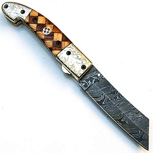 PAL 2000 Damascus Knives - Handmade Damascus Steel Folding knife With Sheath - Blade Length Under 3 INCH - New Pattern Collectible Pocket Knife - LEGAL to CARRY - Un Lockable Folding Blade - 9450