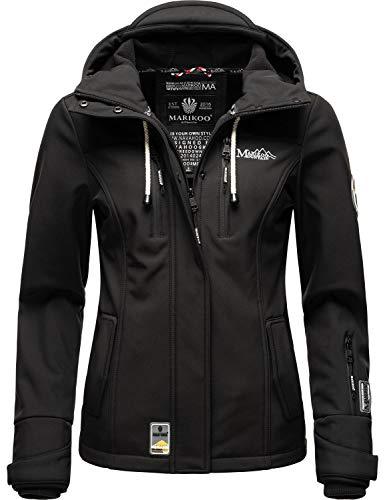 Marikoo Damen Softshell-Jacke wasserdichte Outdoorjacke mit Kapuze Kleinezicke Schwarz Gr. XL