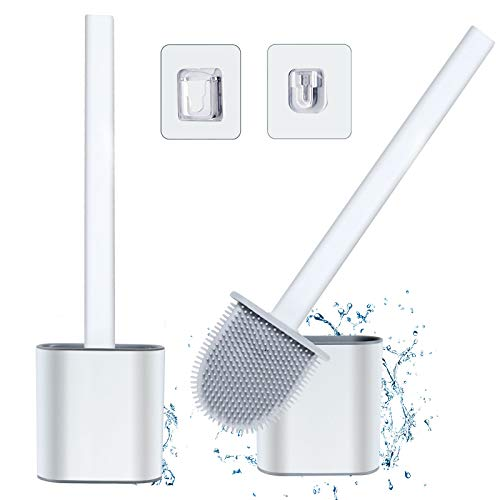 Silicone Toilet Brush with Holder 2 Pack - Deep Cleaner Bowl Buddy Toilet Brushes and Holders Quick Drying Set with Hook, No-Slip Handle & Soft Bristles for Cleaning Gap Bathroom Hygienic Sets(White)