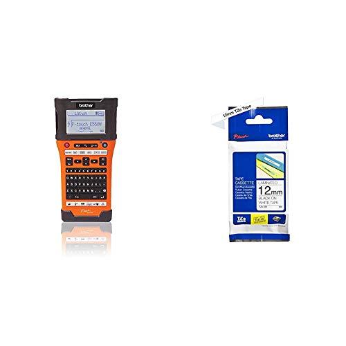 Brother PT-E550WVP Industrielles PC-Beschriftungsgerät mit WLAN (für 3,5-24 mm breite TZE-Schriftbänder und 5,8-23,6 mm) & TZe-231 P-Touch Schriftband (12mm breit, 8m lang) schwarz auf weiß