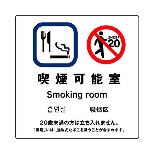 [喫煙可能室] ガラス用 外張り 高耐候性 標識 ステッカー 改正健康増進法対応版 20×20cm