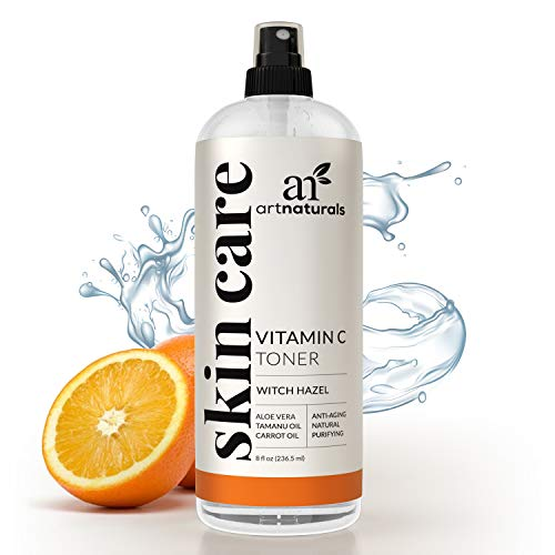 ArtNaturals Vitamin C Hydrating Facial Toner - (8 Fl Oz / 236ml) - Organic Aloe Vera, Witch Hazel, Tea Tree - Anti-Aging Cleanser and Pore Minimizer for Face - Helps Reduces Inflammation & Fight Acne