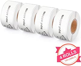 4 Rolls Compatible with Dymo 30254 Clear Address Labels for Dymo LabelWriter 450 Turbo, 4XL, 400, 1-1/8