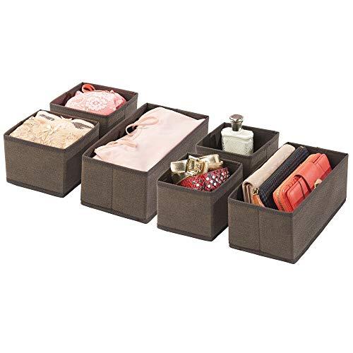 mDesign Juego de 6 cajas organizadoras – Cestas de tela transpirables para ropa interior, leggings, etc. – Organizadores de cajones multiusos para dormitorio o habitación infantil – marrón
