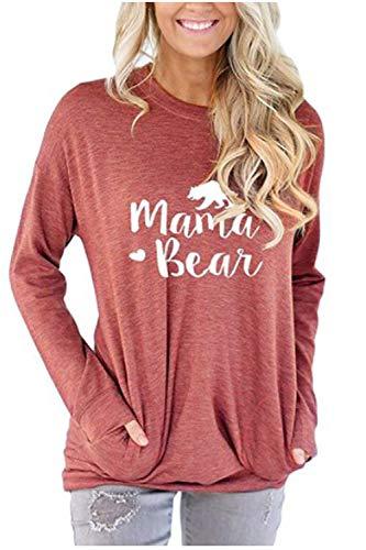 Roevite Damen Rundhalsausschnitt Mama Bear Sweatshirt Bluse T-Shirt mit Taschen - Pink - Klein