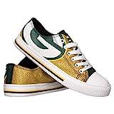 NFL Green Bay Packers Womens Ladies Glitter Low Top Canvas Sneaker Shoesladies Glitter Low Top Canvas Sneaker Shoes, Team Color, 9/X-Large