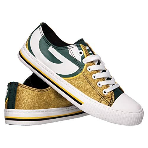FOCO NFL Green Bay Packers Womens Ladies Glitter Low Top Canvas Sneaker Shoesladies Glitter Low Top Canvas Sneaker Shoes, Team Color, 9/X-Large