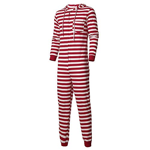 FRAUIT Sleepyheads Schlafanzüge für die Ganze Familie, Motiv: Weihnachtself mit roten Streifen, Weihnachtspyjama, passende Sets Nachtwäsche Mit Kapuze Gestreifte Strampler-Familienkleidung