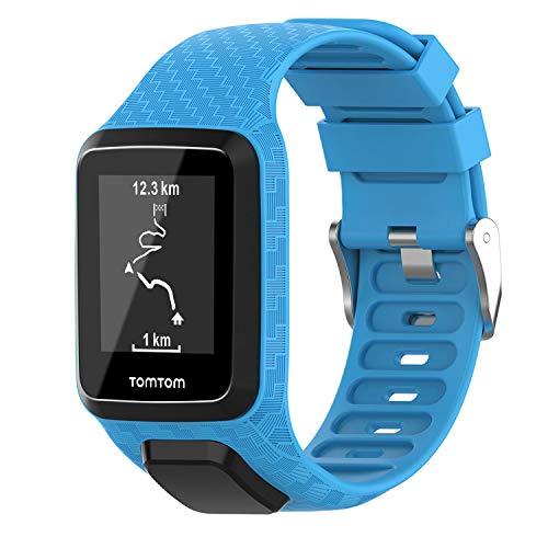 Keweni Correa Compatible con Tomtom 3 Watch, Correa de Repuesto de Silicona de para Tomtom Adventurer Golfer 2 / Runner 2/3 Spark/Spark 3 Sport (Cielo Azul)