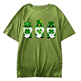 Shirt for Womens,Three Green Gnomes Print Tops Plain Color Short Sleeves Crewneck T-Shirts for Out-Going