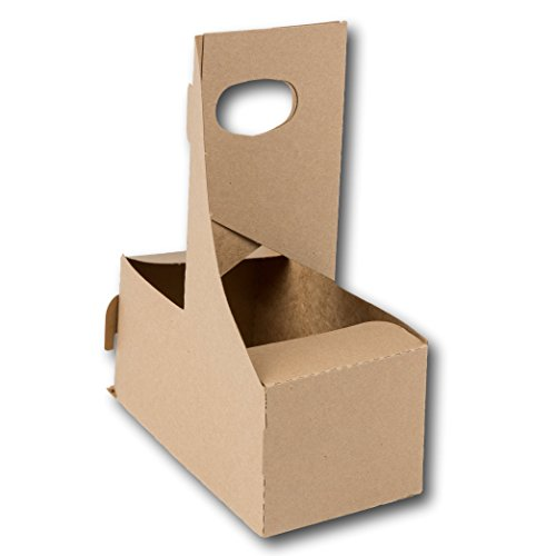 2 Cup Kraft Paperboard Small Drink Carrier With Convenient Handles - Size 7.625' X 3.75' X 8.875' by MT Products (15 Pieces)