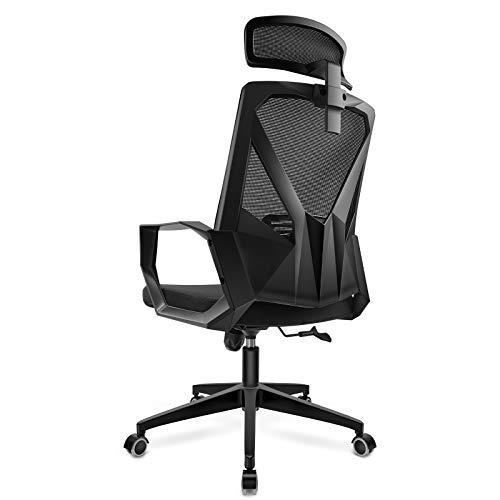 DAVEJONES Office Chair Desk Chair - Computer Ergonomic High Back Mesh Chair, Pure Memory Foam Adjustable Headrest Lumbar Support Gaming Rolling Chair (Black)