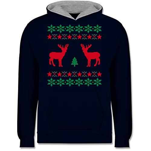 Shirtracer Weihnachten Kind - Norweger Pixel Rentier Weihnachten - 152 (12/13 Jahre) - Navy Blau/Grau meliert - Pulli Weihnachten Kinder - JH003K - Kinder Kontrast Hoodie