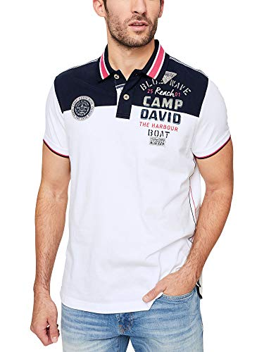 Camp David Herren Polo mit Colour-Design und Rücken-Artwork