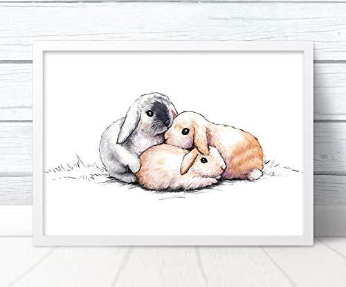 Impresión artística de conejos con ilustración de huellas | Tres conejos animales sin marco, A3 (16.5 x 11.7 inches), Landscape
