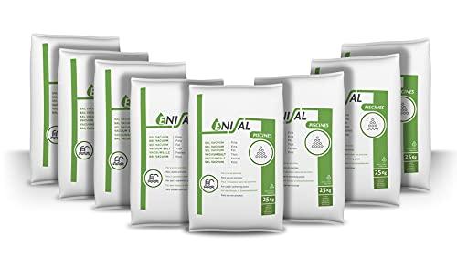 Pack de 200 Kg (8 Sacos de 25 kg.) ENISAL Sal Especial Piscinas – Cumple con la Norma Europea EN 16401/A (Sal Calidad A para Piscinas de electrólisis Salina)