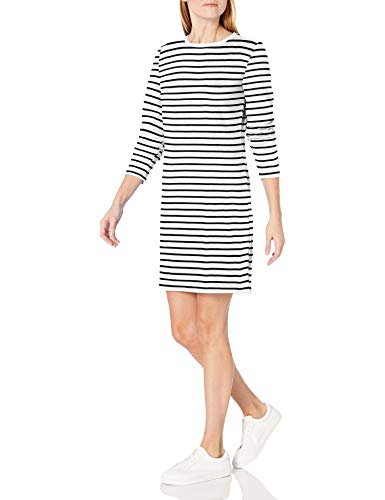 Amazon Essentials Crewneck Long-Sleeve French Terry Fleece Above-The-Knee Dress Fashion-Sweatshirts, Weiß/schwarz gestreift, US M (EU M - L)