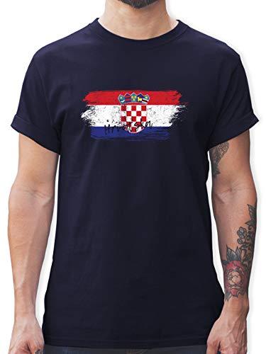 Fußball-Europameisterschaft 2021 - Kroatien Vintage - XL - Navy Blau - Hrvatska Tshirt - L190 - Tshirt Herren und Männer T-Shirts