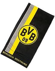 Borussia Dortmund Toalla con patrón de rayas, Unisex, Negro/Amarillo, 50x100