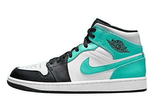 Nike 554724-132 Jordan 1 Mid, scarpa sportiva da uomo, colorazione Igloo, Bianco/Nero/Verde isola, 43 EU