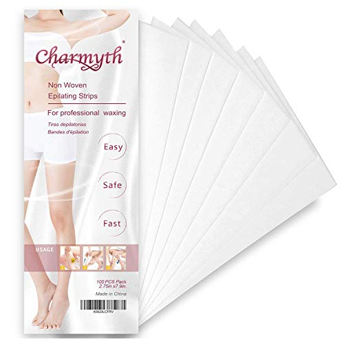 Charmyth Wax Strips Hair Removal Body and Facial Depilatory Paper for Women and Men Disposable Non-Woven Waxing Strips(100 PCS)