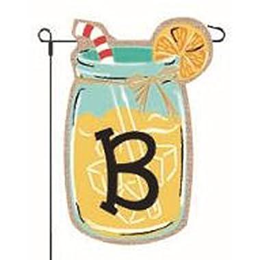 JEC Home Goods Home Garden Flags Monogram Lemonade Mason Jar Burlap Summer Garden Flag 12.5 x 18 (Letter B)