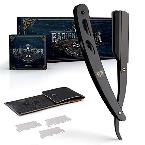 ENTORIS® Schwarzes Rasiermesser Set Herren – [100] Rasierklingen – Hochwertiger Edelstahl – [14] x [2.5] x [0.8] cm – Rasiermesser mit Wechselklinge