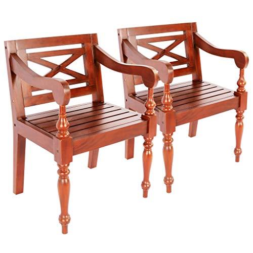 N/O Viel Spaß beim Einkaufen mit Batavia-Stühle 2 STK. Dunkelbraun Mahagoni Massivholz