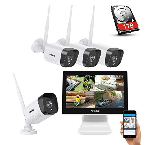 ANNKE Überwachungskamera Set Außen mit Monitor 4CH 10.1 Zoll 5MP wireless NVR und 4x1080P WLAN IP Kamera mit 1TB Festplatte Videoüberwachungssystem für Innen Außen Haussicherheit
