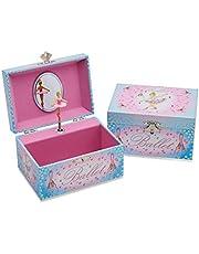 Lucy Locket - Caja de música con «Bailarina» para niños - Joyero infantil de color rosa y azul brillante