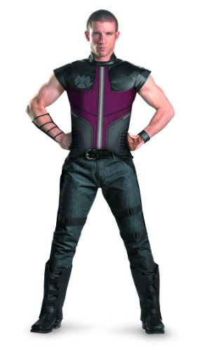 Disguise Hawkeye Avengers Deluxe Adult Costume, Green/Black/White, One Size