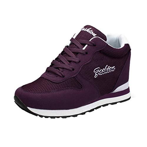 Zapatillas de Deporte al Aire Libre para Mujer, Zapatos Deportivos Individuales con Aumento de Ocio, Zapatillas Altas con Cordones, Zapatos de tacón Alto con cuña para Mujer
