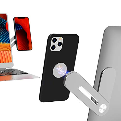 Magnetic Cellphone Mount for Laptop, Foldable Lap Screen Side Phone Holder Extender Attach to Computer Monitor for Universal Smartphone (Silver)