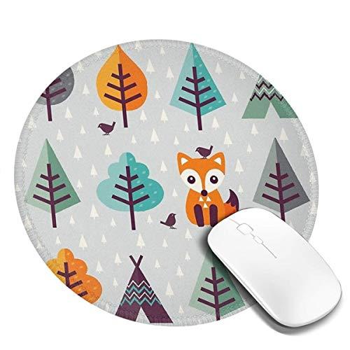 7.9x7.9 in ronde muismat vos vogel in het grijze bos bureau toetsenbord mat grote muis pad voor computer desktop pc laptop