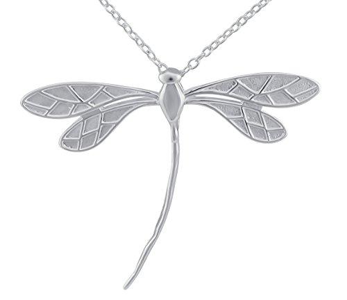 Hanessa Collar de plata para mujer con colgante de mariposa y libélula chapada en plata, regalo para San Valentín para esposa/novia.
