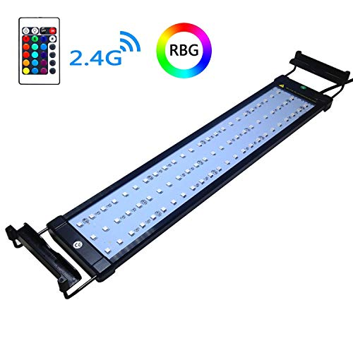 COODIA Aquarium Hood Lighting Color Changing Remote Controlled Dimmable RGBW LED Light for Aquarium/Fish Tank, Extendable Upto 28 inches (for Fresh and Salt Water)