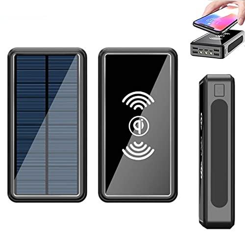 Cargador Solar Batería Externa Inalámbrica 50,000Mah Power Bank Carga Rápida Q 3.0,Cargador Portátil USB C con 4 Salidas+3 Ingresso Y 3 Linternas para Smartphones Y Tablets Camping (Negro)