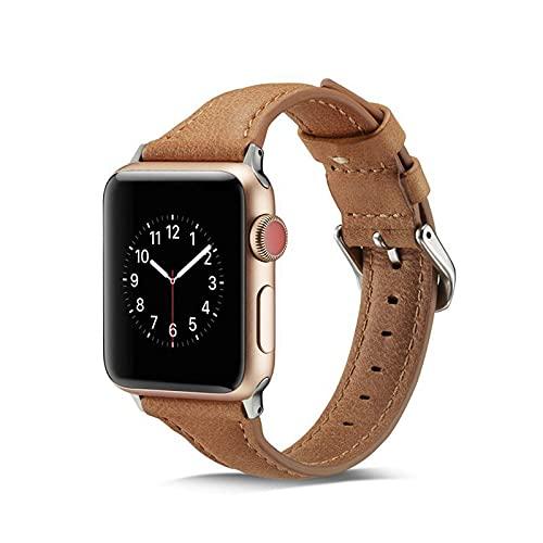 Correa compatible con Apple Watch Correa de 38 mm 40 mm, cuero suave, deportivo, delgadas, estrechas, correa de repuesto, compatible con iWatch Series 6 5 4 3 2 1 SE Mujeres Hombres,42mm/44mm