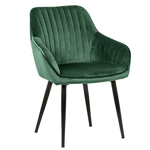 Invicta Interior Edler Design Stuhl Turin Samt smaragdgrün mit Armlehne Esszimmerstuhl Konferenzstuhl