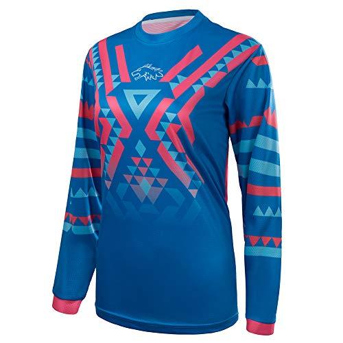 Wisdom Leaves Women's Cycling Jersey Long Sleeve Mountain Bike Shirt BMX Bike Jersey Breathable/Moisture-Wicking T-Shirt Blue Pink